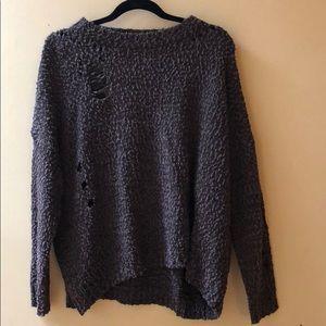 Woman's Umgee USA Brown Distressed Sweater